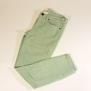 Mint green J Crew corduroy jeans